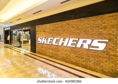 KUALA LUMPUR, MALAYSIA, May 20, 2016: Sketchers outlet at KLCC, Kuala Lumpur, with focus on its wall signage.  Skechers is an American shoe company founded by CEO Robert Greenberg and his son Michael.