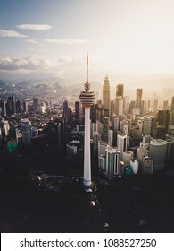 KUALA LUMPUR, MALAYSIA - MAY 2018 : Aerial view of KL Tower from a drone. KL Tower is a telecommunication tower located at Bukit Nanas, Kuala Lumpur