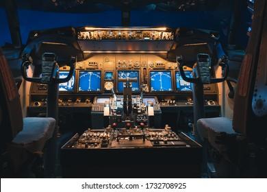 Kuala Lumpur, Malaysia - May 2020: A cockpit view  of Boeing 737-800 or 737NG