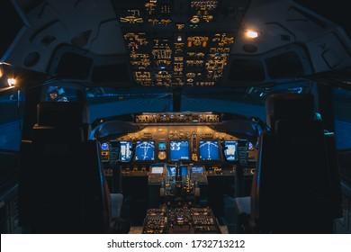 Kuala Lumpur, Malaysia: May 2020: Boeing 737-800 flight simulator cockpit view.