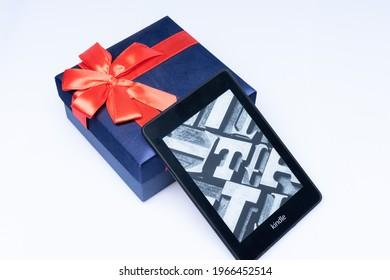 Kuala Lumpur, Malaysia - May 2021. Amazon Kindle Paperwhite 2019 is Amazon e-book reader that is lightweight and waterproof