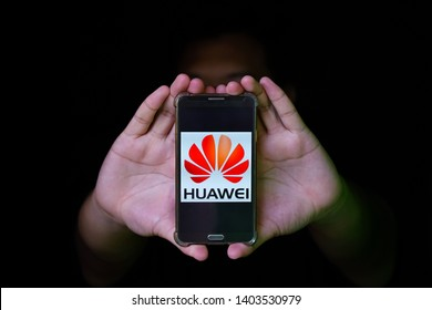 KUALA LUMPUR, MALAYSIA, MAY, 21 2019 : A Huawei mobile phone generated by android based OS. Huawei currently being black list by US and Lost access to Android and Google.