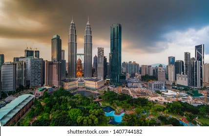 KUALA LUMPUR, MALAYSIA MAY 21 2019 : Petronas Towers and KLCC.Petronas Towers is a high-rise building in Kuala Lumpur, Malaysia.This tower was built in 1998.height is 452 m