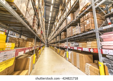 KUALA LUMPUR, MALAYSIA - MAY 22, 2016: Warehouse storage in an IKEA store. Founded in 1943, IKEA is the world's largest furniture retailer. IKEA operates 351 stores in 43 countries.