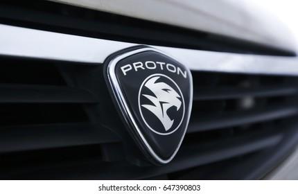 KUALA LUMPUR, MALAYSIA - MAY 24, 2017 : Logo of Malaysia's national carmaker, Proton.