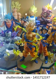 KUALA LUMPUR, MALAYSIA - MAY 26, 2019: Action figures of characters from famous Japanese animated series DRAGON BALL, displayed for sale on central market.