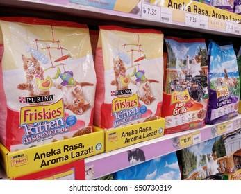 KUALA LUMPUR, MALAYSIA - MAY 26, 2017 : Friskies at the hypermarket in Kuala Lumpur, Malaysia. Friskies is owned by Nestle Purina PetCare Company, a subsidiary of Nestle.