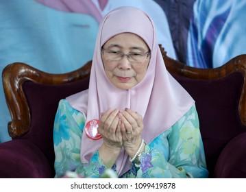 KUALA LUMPUR, MALAYSIA - MAY 27, 2018 : Deputy Prime Minister of Malaysia, Wan Azizah Wan Ismail pray during iftar event.