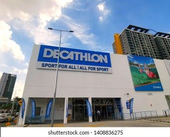 Kuala Lumpur, Malaysia- May 27 2019: Decathlon shop at Shah Alam. Decathlon S.A. is a French sporting goods retailer.