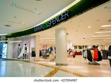 KUALA LUMPUR, MALAYSIA - MAY 27, 2016: M&S store at Sunway Pyramid Mall. Marks and Spencer (M&S)  is a major retailer with 1,010 stores in 41 countries. It specializes in fashion and luxury goods.