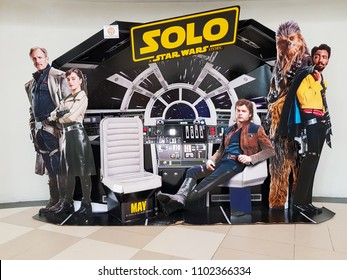 KUALA LUMPUR, MALAYSIA - MAY 28, 2018: Solo: A Star Wars Story Movie Poster; The movie featured Alden Ehrenreich as Han Solo