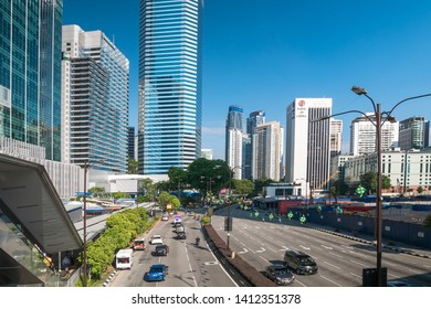 Kuala Lumpur, Malaysia - May 28,2019 : Scenic view of the cityscape of Kuala Lumpur in the morning, people can seen exploring around it.