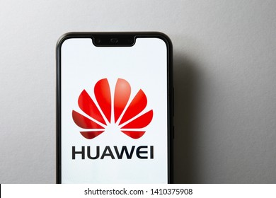 Kuala Lumpur, Malaysia - May 29, 2019: Huawei logo on screen of Huawei Nova 3i. Huawei Technologies Co., Ltd. is a Chinese multinational networking and telecommunications equipment and services