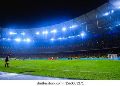 Kuala lumpur, Malaysia - Nov 14 2019: FIFA World Cup Asian second qualifier match between Malaysia and Thailandat Bukit Jalil Stadium inKuala lumpur, Malaysia.