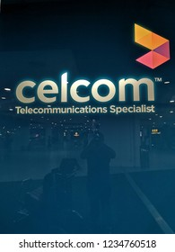KUALA LUMPUR MALAYSIA - Nov 16, 2018 : CELCOM signboard at airport. Celcom Axiata Berhad, DBA Celcom, is the oldest mobile telecommunications provider in Malaysia.