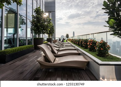 Kuala Lumpur,  Malaysia - Nov 18, 2018 : View of roof top of luxury holiday apartment.