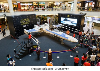 KUALA LUMPUR, MALAYSIA - NOV, 2015 : A life sized X-wing fighter replica being displayed in Mid Valley taken on 23 November 2015. Star Wars: The Force Awakens premieres on 17th December 2015.