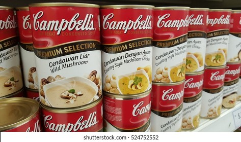 KUALA LUMPUR, MALAYSIA - NOV 28TH, 2016 :Close up image of Campbell's Mushroom Soup cans on the supermarket shelf. Campbell's, is an American producer of canned soups and related products.