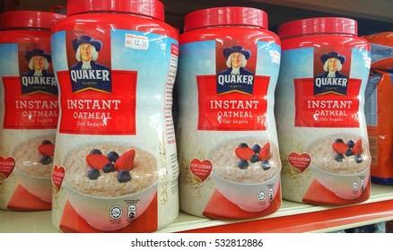 KUALA LUMPUR, MALAYSIA - NOV 28TH, 2016 :Close up image of Quaker Instant Oatmeal on the supermarket shelf.