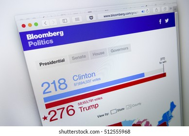 KUALA LUMPUR, MALAYSIA - NOV 9, 2016 : Screen capture of Bloomberg news website on 2016 US election results won by Donald Trump of Republicans beating Hillary Clinton of Democrats.