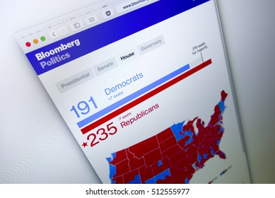 KUALA LUMPUR, MALAYSIA - NOV 9, 2016 : Screen capture of Bloomberg news website on 2016 US election results House of representatives seats won by Republicans beating Democrats.