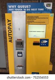 KUALA LUMPUR, MALAYSIA - NOV 9, 2017: Automatic ticket parking machines at Kuala Lumpur International Airport,Malaysia.