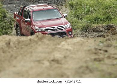 KUALA LUMPUR, MALAYSIA - NOVEMBER 09, 2017. An off-road test drive of Toyota Hilux in Kuala Lumpur.