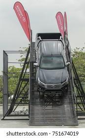 KUALA LUMPUR, MALAYSIA - NOVEMBER 09, 2017. An obstacles test drive of Toyota Hilux in Kuala Lumpur.