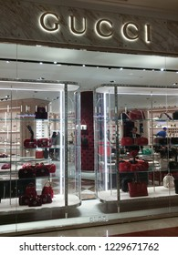 Kuala Lumpur, Malaysia. November 11,  2018: Famous brand Gucci lady's handbag is on displayed on one of the Store at Suria KLCC Shopping Mall.
