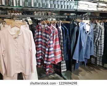Kuala Lumpur, Malaysia. November 11, 2018: Various colors & sizes pyjamas on displayed and sold at Suria KLCC Shopping Mall.