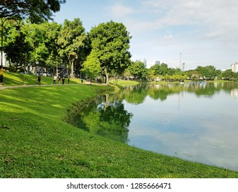 Kuala Lumpur, Malaysia. November 11, 2018. Morning scenery of Taman Tasik Ampang Hilir, a lake garden in the city is a favourite place to locals for a weekend gateway