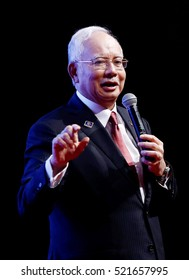 KUALA LUMPUR, MALAYSIA - NOVEMBER 11, 2015: Prime Minister of Malaysia, Najib Razak deliver his keynote address during the special meeting with 1 MALAYSIA Training Scheme participants in Kuala Lumpur.