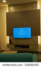 KUALA LUMPUR, MALAYSIA - November 11TH, 2018 : Modern lifestyle with Philips Android TV to stay connected & browsing media using favourite Apps. Tv display on facebook login page