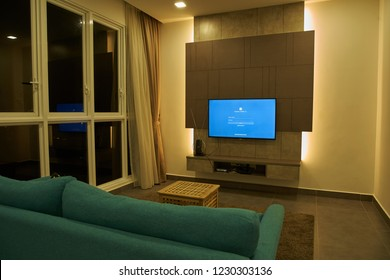 KUALA LUMPUR, MALAYSIA - November 11TH, 2018 : Modern lifestyle with Philips Android TV to stay connected & browsing media using favourite Apps. Tv display on focebook login page