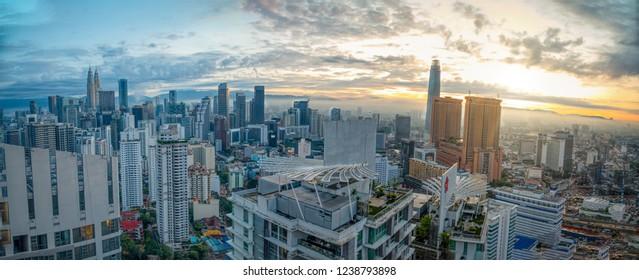 Kuala Lumpur, Malaysia. November 12, 2018: Panoramic skyscape views of around/nearby Petronas twin tower at Central City Tower.