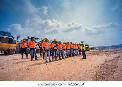Kuala Lumpur, Malaysia - November 12 2017 : Environmental, Safety and Health  training for construction workers on site in Kuala Lumpur Malaysia.