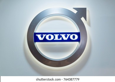 KUALA LUMPUR, MALAYSIA - NOVEMBER 12, 2017: Volvo logo at motorshow in Kuala Lumpur, Malaysia.