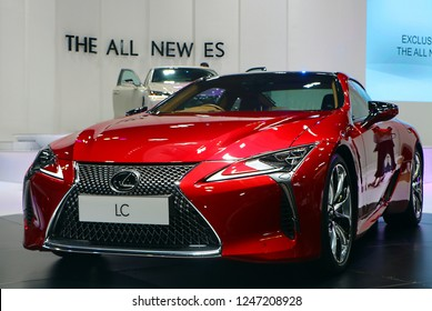 KUALA LUMPUR, MALAYSIA - November 1,2018 : Front view of red Lexus LC 500 car with futuristic design and aerodynamics displayed during Kuala Lumpur International Motor Show (KLIMS).