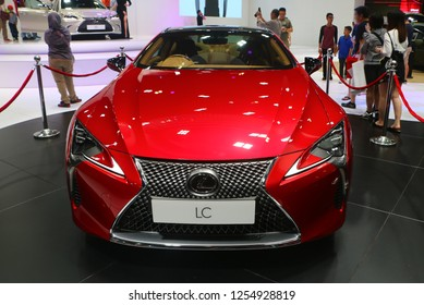 KUALA LUMPUR, MALAYSIA - November 1,2018 : Front view of red Lexus LC 500 car with futuristic aerodynamics design , displayed during Kuala Lumpur International Motor Show (KLIMS).
