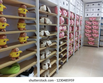Kuala Lumpur, Malaysia.  November 13, 2018: Cartoon character pillows are available & sold at NU Central Shopping Mall.