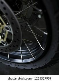 KUALA LUMPUR, MALAYSIA - NOVEMBER 15, 2018 : Tyre, Disc Brake & Rim. Detail and close up of Honda X-ADV 745cc Adventure Scooter / Crossover Adventure Bike.