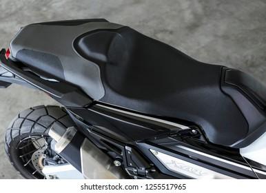 KUALA LUMPUR, MALAYSIA - NOVEMBER 15, 2018 : Seat. Detail and close up of Honda X-ADV 745cc Adventure Scooter / Crossover Adventure Bike.