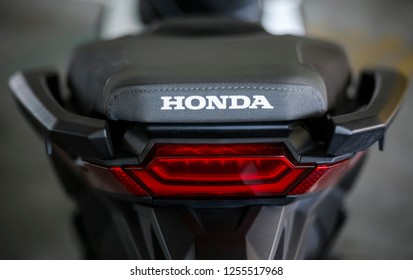 KUALA LUMPUR, MALAYSIA - NOVEMBER 15, 2018 : Tail Light. Detail and close up of Honda X-ADV 745cc Adventure Scooter / Crossover Adventure Bike.
