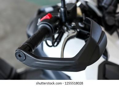 KUALA LUMPUR, MALAYSIA - NOVEMBER 15, 2018 : Hand guard. Detail and close up of Honda X-ADV 745cc Adventure Scooter / Crossover Adventure Bike.