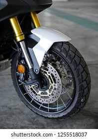 KUALA LUMPUR, MALAYSIA - NOVEMBER 15, 2018 : Tyre & rim. Detail and close up of Honda X-ADV 745cc Adventure Scooter / Crossover Adventure Bike.