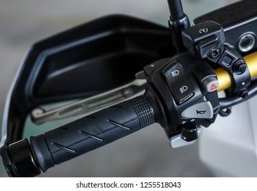 KUALA LUMPUR, MALAYSIA - NOVEMBER 15, 2018 : Honk, gear shifter, signal. Detail and close up of Honda X-ADV 745cc Adventure Scooter / Crossover Adventure Bike.