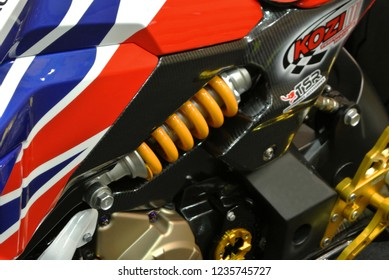 KUALA LUMPUR, MALAYSIA -NOVEMBER 16, 2018: Motorcycle absorber designed to absorbed shock and to give riders comfortable riding experience.