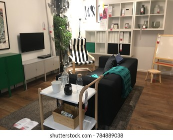 KUALA LUMPUR, MALAYSIA - NOVEMBER 16, 2017: Interior of the Ikea store with unidentified people and brand or logo . IKEA is the world's largest furniture retailer.