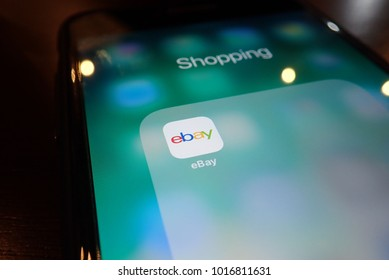 KUALA LUMPUR, MALAYSIA - NOVEMBER 17, 2017: A close-up photo of Apple iPhone start screen with 'eBay' apps icon. Selective focus and crop fragment.