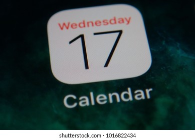 KUALA LUMPUR, MALAYSIA - NOVEMBER 17, 2017: A close-up photo of Apple iPhone start screen with 'Calendar' apps icon. Selective focus and crop fragment.